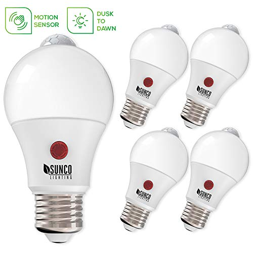 Sunco Lighting 4 Pack A19 LED Bulb Dusk-to-Dawn (Photocell) & Motion (PIR) Detection, 9W=60W, 2700K Soft White, Motion-Activated at Night, Security Light - UL
