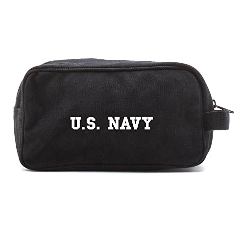 (US NAVY Text Canvas Shower Kit Dual Compartment Travel Toiletry Bag, Black & Wh)