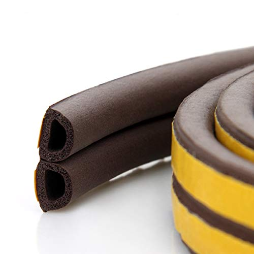 Weather Stripping,Door Window Adhesive Seal Strips for Windproof, Soundproof, Dustproof, Collision Avoidance, Weatherproof Seal 50 Feet (D Brown)