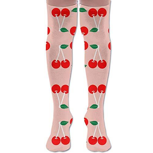 DFAUHAL Cherries Blush Summer Fruit Tropical Summer Juicy Knee High Graduated Compression Socks for Unisex - Best Medical, Nursing, Travel & Flight Socks - Running & Fitness