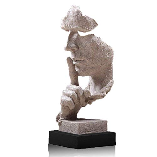 (Lependor Creative Abstract Decor The Thinker Statue Face & Hand Statues and Sculptures Office Desk Decor Keep Silence Figurine - No Speak Sandstone)