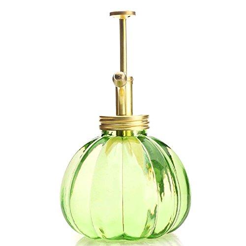Purism Style Plant Mister- Green Color Glass Bottle & Brass Sprayer (Matt  Gold)