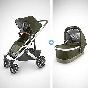 UPPAbaby-Cruz-V2-Stroller-Hazel-OliveSilverSaddle-Leather-Bassinet-Hazel-OliveSilver