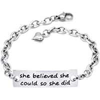 O.RIYA She She believed she could so she did Inspirational Hand Stamped Cuff Metal Leather Bracelet for Women Ladies Girls