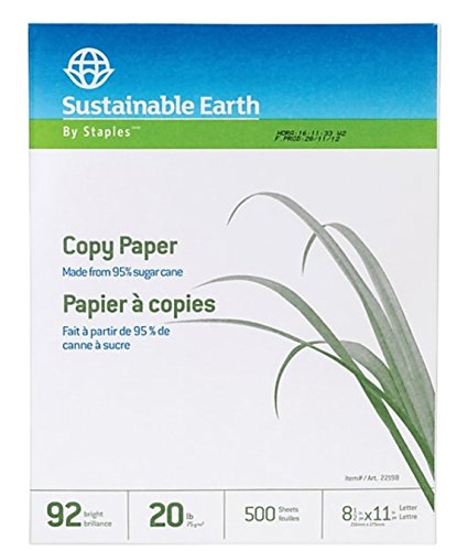 Staples Sustainable Earth Sugarcane Based Multipurpose Copy Fax Inkjet Laser Printer Paper, Recycled Alternative, 8 1/2 x 11 inch Letter Size, 20 lb. Density, 92 Bright White, Acid Free, Ream, 500 Total Sheets (398457) ()