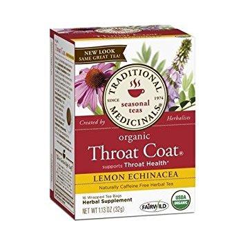 2 Packs of Traditional Medicinals Organic Throat Coat Lemon Echinacea Herbal Tea - Caffeine Free - 16 Bags