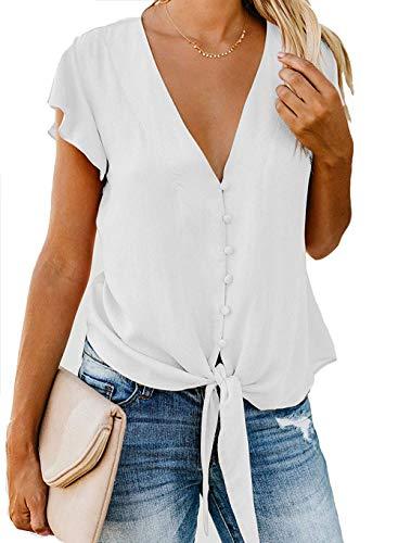 (Barlver Womens Button Down V-Neck Tops Ruffle Cap Sleeve Tie Knot Chiffon Summer Shirt Blouses(White-42 M))