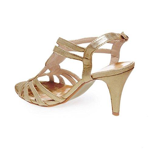 La Modeuse - Sandalias de vestir para mujer dorado