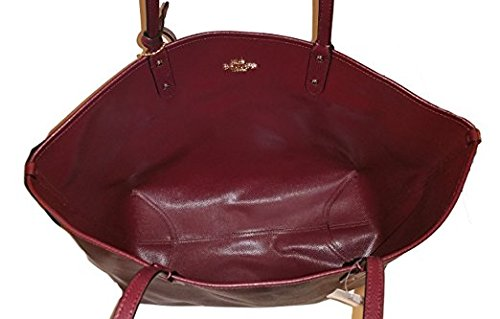 Tote Coach Burgundy Signature Reversible City PVC F36609 SqFXqP7