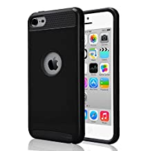 iPod Touch 6 & 5 Case, Asstar Heavy Duty Case for Apple iPod Touch 6th Generation_2015 Released, 2-Piece Style Hybrid Hard Cover (Black Black)