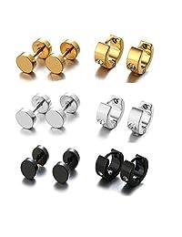 Halukakah Titanium Steel Men's Hoop Stud Earrings Golden/Black/Silver Cubic Zirconia Inlaid 7 Pairs