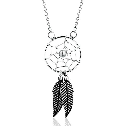 925 Sterling Silver Dream Catcher w/ (2) Two Feathers Pendant Necklace, Expandable 14.5-17.5""