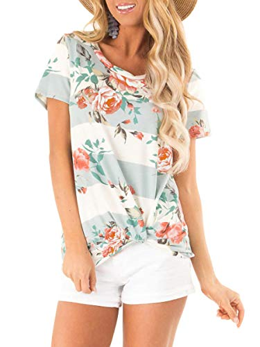(Womens Floral Print Striped Tops Summer Boat Neck T Shirts Cute Twist Blue)