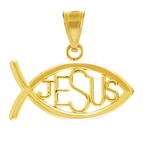 14k Gold Horizontal Jesus Ichthus Charm Christian Fish Pendant ()