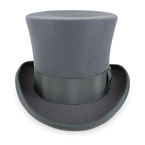 Belfry John Bull Theater-Quality Men's 100% Wool Felt Top Hat in Gray XLarge ... -
