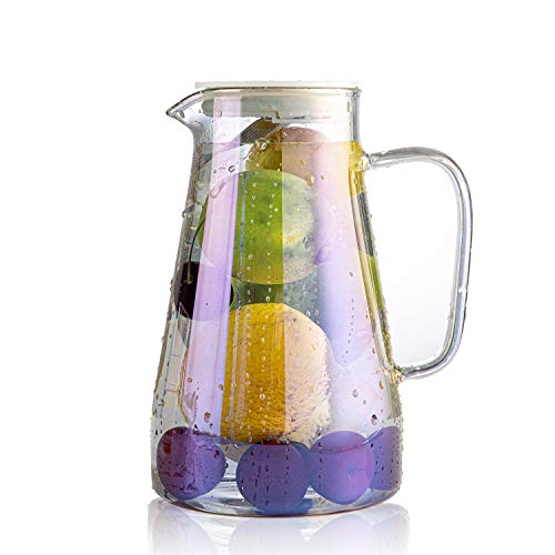 E-liu 47 Ounces Glass Pitcher with Infuser Lid, Water Carafe with Handle for Iced Tea, Coffee, Juice, Beverage(Iridescent)