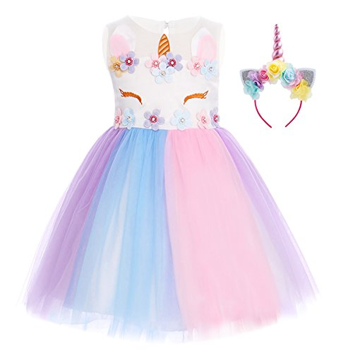 Baby Toddler Little Girl Unicorn Party Pastel Tutu Dress Headband Summer Sleeveless Flower Applique Ruffle Tulle Dress Pageant Party Cosplay Dance 5-6 Years ()