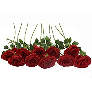 Kislohum Artificial Flowers Bulk Roses 10pcs Real Looking Fake Silk Roses for Wedding Bouquets Floral Leaf Centerpieces Party Home Decor Baby Shower -Dark Red 29