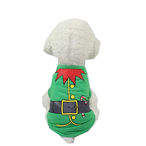 [Puppy Clothes,Haoricu 2017 Hot Sale!Cute Puppy Christmas Santa T-Shirt For Small Dogs Vest Costumes (S, Green)] (Top Dog Costumes 2017)
