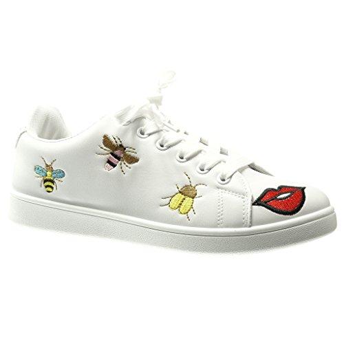 Angkorly Damen Schuhe Sneaker - Low - Fantasy - Bestickt - Fertig Steppnähte Flache Ferse 0 cm Weiß