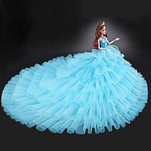 女の子 DIY 人形服 布 バービー トレーリング ウェディング ドレス プレゼント 綺麗 ブルー
