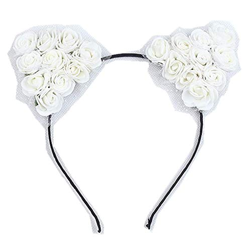 Stylish Girls cat Ears Headband lace self Photo Prop Baby Children Accessories Cosplay Party (White)