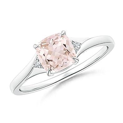 Angara Split Shank Cushion Morganite Solitaire Ring with Diamond Accents LLSQm1