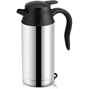 Fdit Portable Car Electric Kettle Travel Car Cigarette Lighter DC12V/24V Hot Water Kettle Fast Boiling for Tea Coffee Auto Shut Off (750ml)