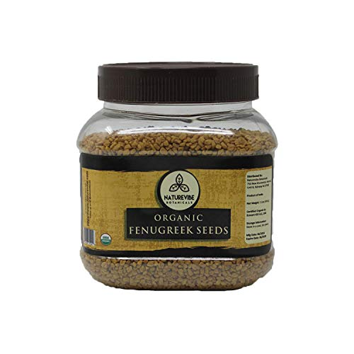 Naturevibe Botanicals Organic Fenugreek Seeds Whole (1 pound), Methi seeds | Trigonella foenum graecum | Gluten Free & Non-GMO | Improves Hair and skin health.