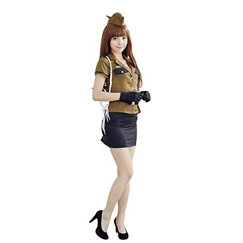 HÖTER Women's Sexy Armygreen Police Officer Uniform Halloween Costume Party Cosplay Dress Outfit With (Fantastic 4 Spandex Costume)