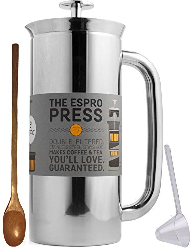 Espro Coffee Press P7-32 oz Double Wall Vacuum Insulated Polished Stainless Steel Coffee Press, Zonoz One-Tablespoon Plastic Clever Scoop & Zonoz 8.25-Inch Wooden Stirring Spoon Bundle