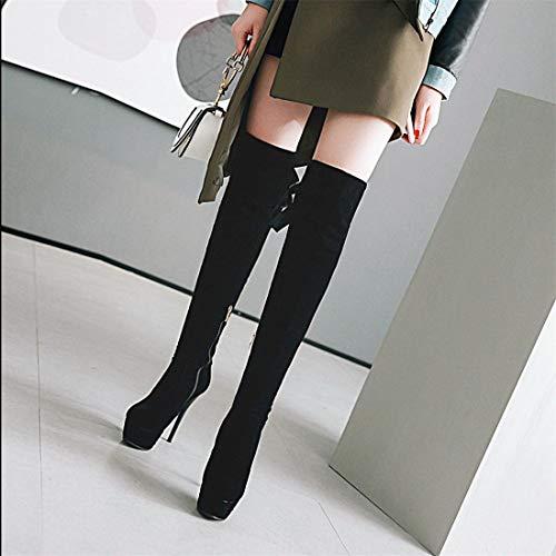 de Mujer Rodilla Zapatos la black Botas hasta Cremalleras Sandalette hasta Laterales la Botas Mesa Impermeable Botas para DEDE Rodilla Botas tacón Alto 4xq7Rw