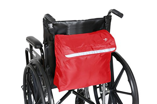 Pembrook Wheelchair Backpack Bag - Red - Great accessory pack for your mobility devices. Fits most Scooters, Walkers, Rollators - Manual, Powered or Electric Wheelchairs