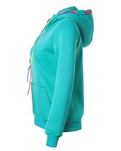 Mujeres Cremallera Sudadera con Capucha Chaqueta Corta con Capucha Jacket Sportswear Verde