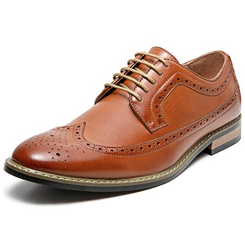 Mens Wingtip Brogue Leather Lined Lace-up Oxford Dress Shoes (12 M US, Tan1)