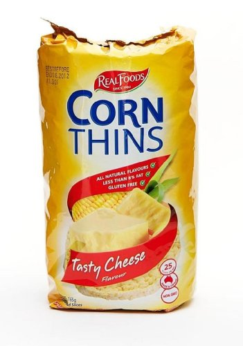 Real Foods Corn Thins, Tasty Cheese, 4.4 Ounce (Pack of 6) by Real Foods