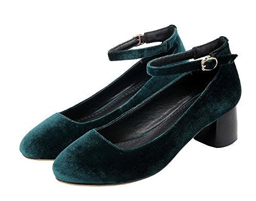 Flats Scuro Tacco Fibbia Basso Pelle Verde Ballet Tonda Mucca VogueZone009 di Punta Donna Ux7wv