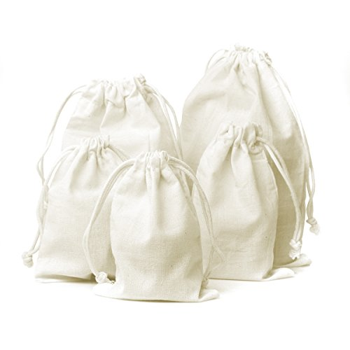 Linen and Bags 5'x8' Natural Cotton Muslin High Quality Drawstring Bags Multipurpose 25 Bag Pack