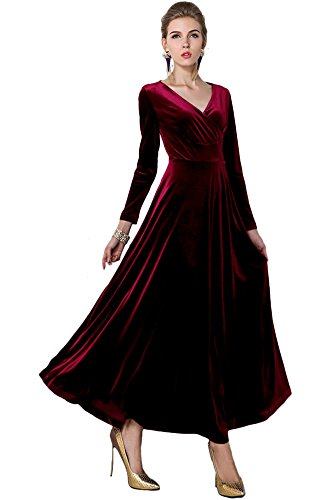 - EXCHIC Women Elegant Velvet Long Dress Evening Party Dancing Dress V-Neck Long Sleeve (S, Wine Red)