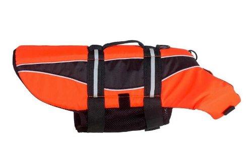 Dogline Pet Dog Safety Life Vest Jacket Preserver witgh reflective stripes and handle (6 sizes) orange XXS