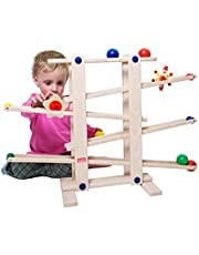 Trihorse balbaan MAXI van hout - Ideaal voor kinderen en baby's vanaf 1 jaar - metselbaan met 6 figuren - zeer stabiel premium houten speelgoed - Made in EU