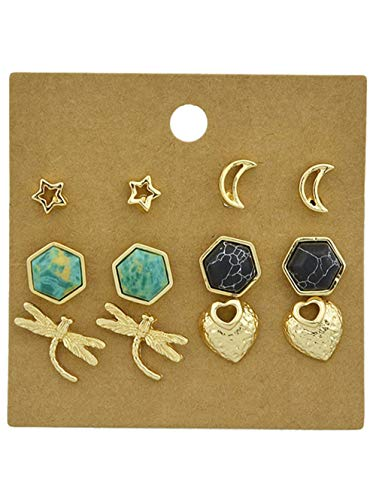 6Pcs Metal Geometric Star Dragonfly Earrings Faux Turquoise Heart Moon Stud for ()