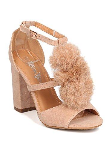 Heart.thentic Women Faux Suede Peep Toe Pom Pom Block Heel Sandal GC30 - Nude (Size: 10)