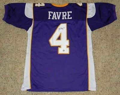 9611dfb0c3d Image Unavailable. Image not available for. Color  Brett Favre Signed  Autographed Minnesota Vikings  4 Purple Jersey ...