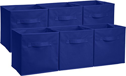 (AmazonBasics Foldable Storage Bins Cubes Organizer, 6-Pack, Navy Blue)