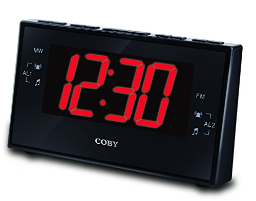 Coby CBCR-103-BLK Digital Alarm Clock with AM/FM Radio and Dual Alarm (Black)