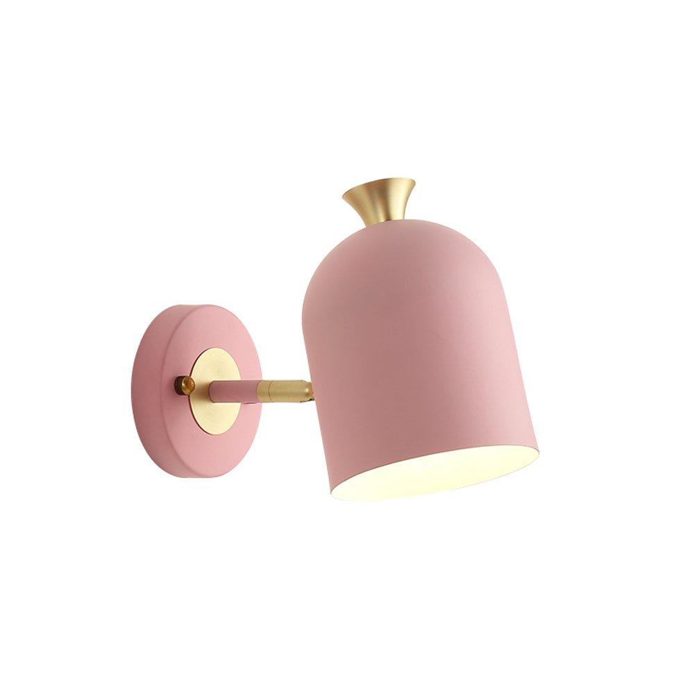 Verstellbare Wandleuchten aus Eisen, Mode Junge Mädchen LED Hängelampe Wandlampen Nordic Schlafzimmer Kinder Wohnzimmer Lesen Kleine Wandleuchte, Blau, Grün, Rosa, Gelb (Color : Pink)