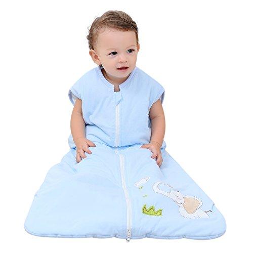 Baby Sleep sack Wearable Blanket baby Sleeping bag 100% Cotton Blue-elephant (M-90cm(6-18month))