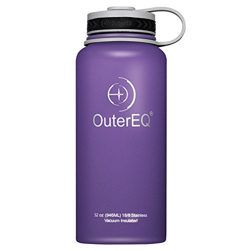 OuterEQ Insulated Stainless Steel 32 oz Water Bottle - Wide Mouth Bottles - Double Walled Vacuum (Purple)
