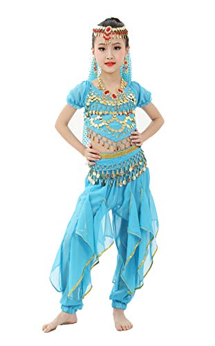 Gilrs Halloween Costume Set - Kids Belly Dance Halter Top Pants with Jewelry Accessory for Dress Up Party(Aqua,M) -